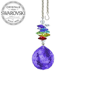 Crystal Ornament 3 inch Suncatcher Blue Violet Ball Prism Colorful Rainbow Maker Made with Swarovski crystals