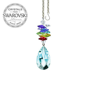 Crystal Ornament 3 inch Antique Green Almond Prism with Colorful Rainbow Maker Swarovski crystal Prisms