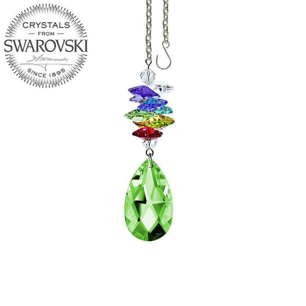 Crystal Ornament 3 inch Light Peridot Almond Prism with Colorful Rainbow Maker with Swarovski crystal Prisms