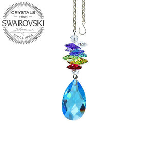 Crystal Ornament 3 inch Medium Sapphire Almond Prism with Colorful Rainbow Maker with Swarovski crystal Prisms