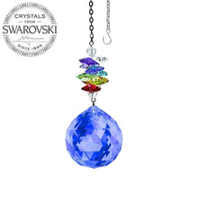 Load image into Gallery viewer, Crystal Ornament 3 inch Suncatcher Sapphire Ball Prism Colorful Rainbow Maker Made with Swarovski crystals