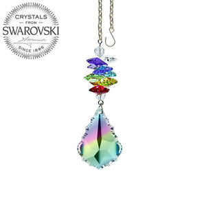 Crystal Ornament 3 inch Suncatcher Faceted Aurora Borealis 1.5 inch Pendeloque Rainbow Maker Made with Swarovski crystals