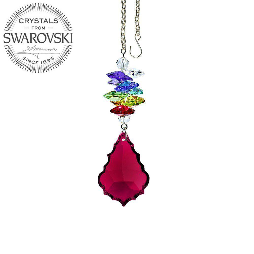 Crystal Ornament 3 inch Suncatcher Faceted Bordeaux 1.5 inch Pendeloque Rainbow Maker Made with Swarovski crystals