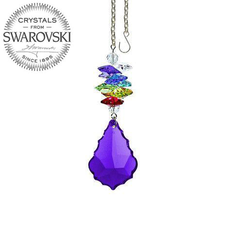 Crystal Ornament 3 inch Suncatcher Faceted Blue Violet 1.5 inch Pendeloque Rainbow Maker Made with Swarovski crystals