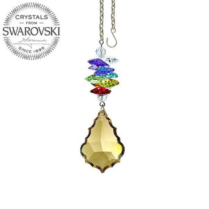 Crystal Ornament 3 inch Suncatcher Faceted Golden Teak 1.5 inch Pendeloque Rainbow Maker Made with Swarovski crystals