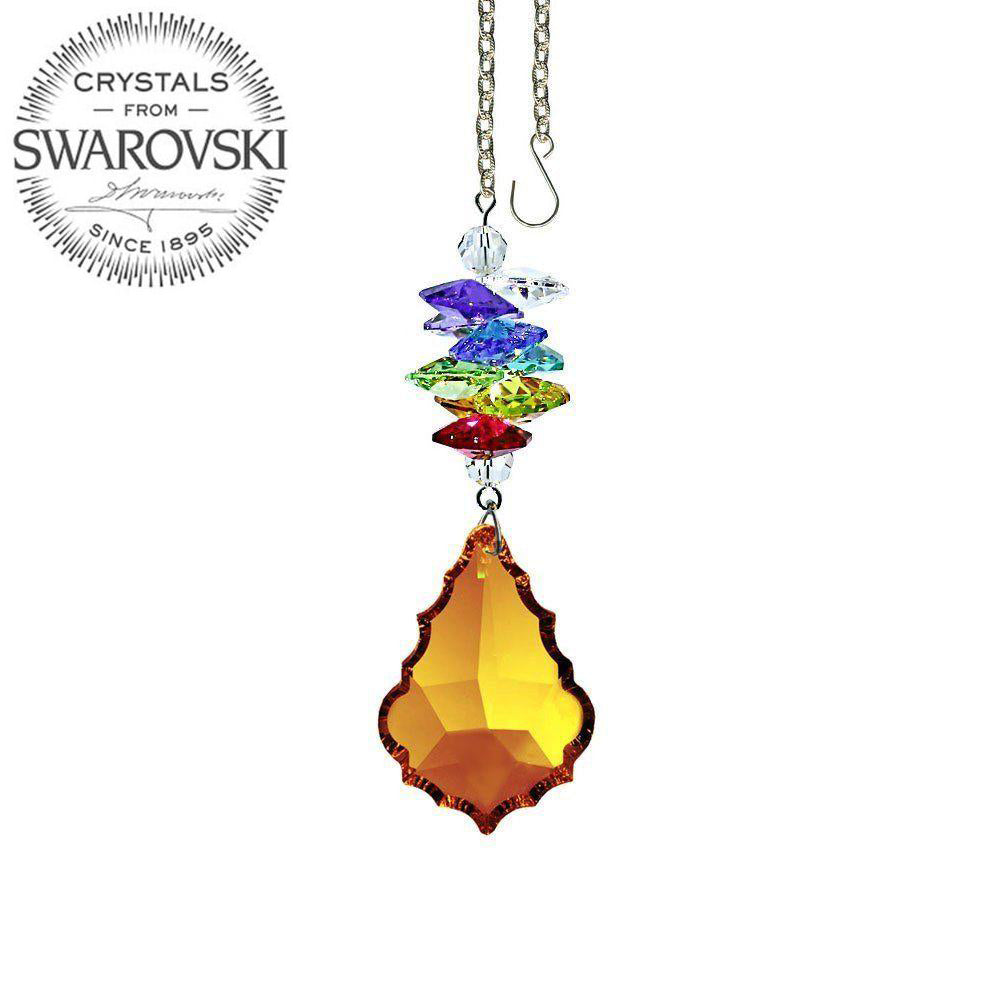 Crystal Ornament 3 inch Suncatcher Faceted Topaz 1.5 inch Pendeloque Rainbow Maker Made with Swarovski crystals