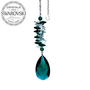 Crystal Ornament 4.5 inch Suncatcher Clear - Emerald Rainbow Maker with Emerald Almond Prism Made with Swarovski crystals