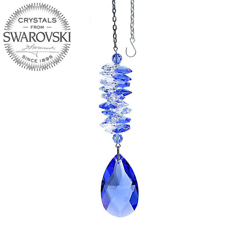 Crystal Ornament 4.5 inch Suncatcher Clear - Medium Sapphire Rainbow Maker with Medium Sapphire Almond Prism Made with Swarovski crystals