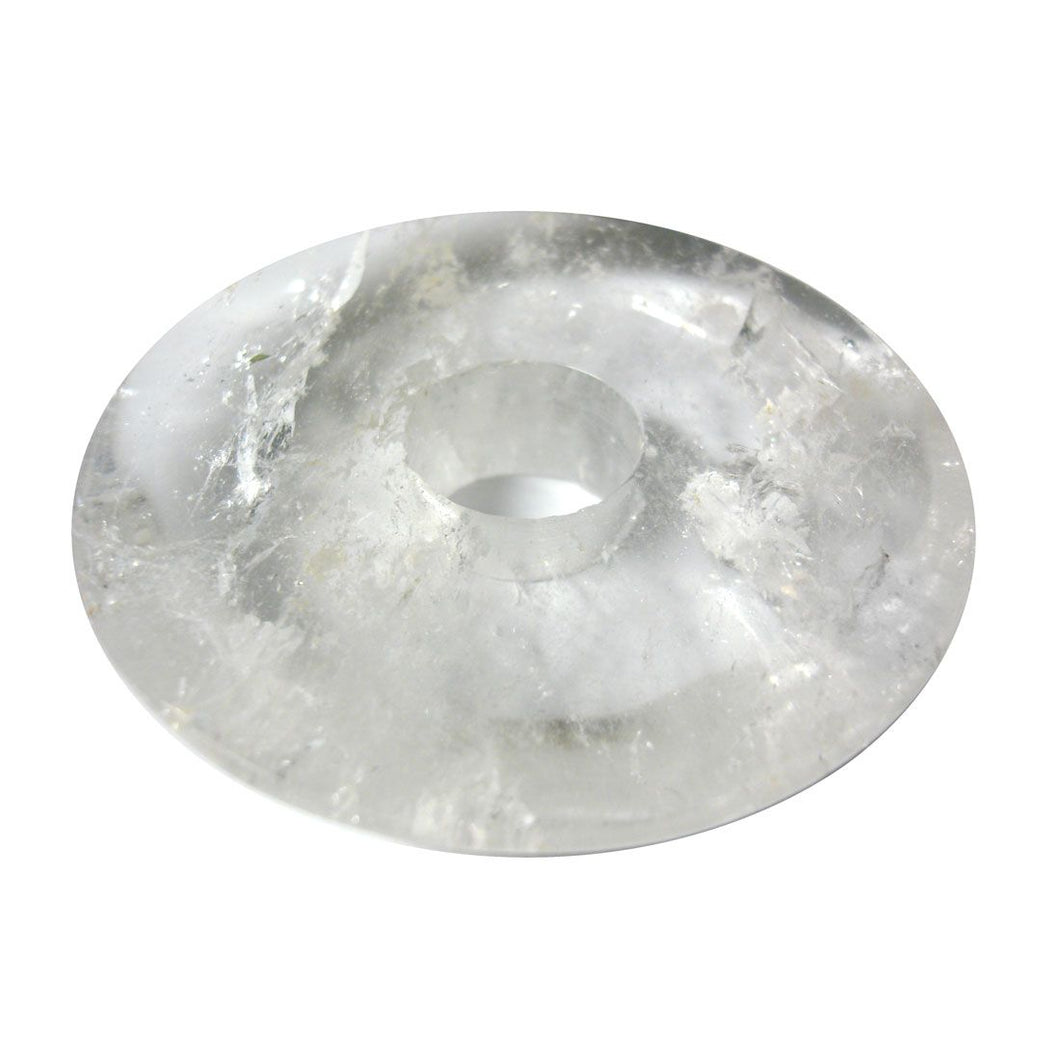 Clear Rock Crystal Bobeche 4 Inches with 26mm Center Hole
