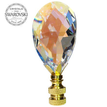 Load image into Gallery viewer, Lamp Finial Swarovski Crystal Aurora Borealis Faceted Almond Prism Lamp Shade Finial