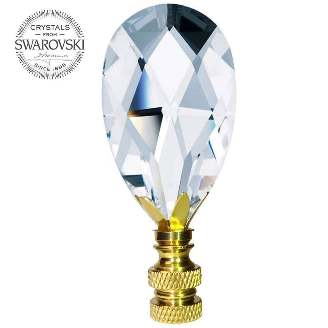 Lamp Finial Swarovski Strass Clear Almond Prism Dazzling Lamp Shade Finial
