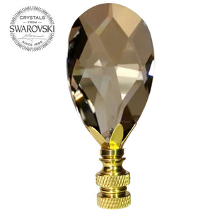 Lamp Finial Swarovski Crystal Champagne Faceted Almond Prism Lamp Shade Finial