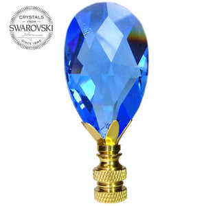 Lamp Finial Swarovski Crystal Sapphire Faceted Almond Prism Lamp Shade Finial