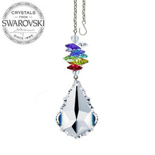 Load image into Gallery viewer, Crystal Ornament 3 inch Suncatcher Faceted Clear 1.5 inch Pendeloque Rainbow Maker Made with Swarovski crystals