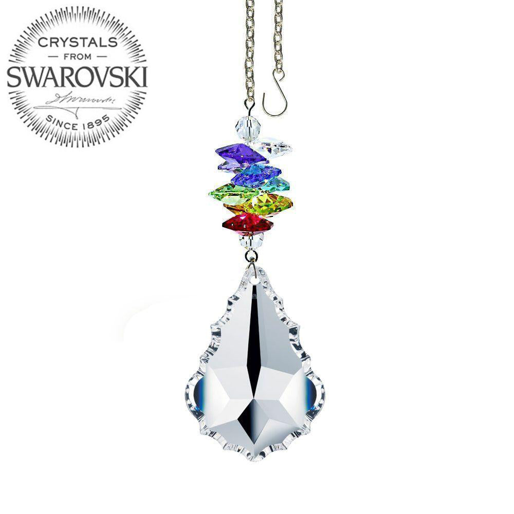 Crystal Ornament 3 inch Suncatcher Faceted Clear 1.5 inch Pendeloque Rainbow Maker Made with Swarovski crystals