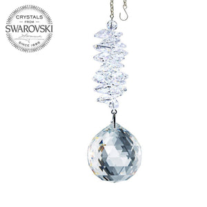 Crystal Ornament 4.5-inch Suncatcher Crystal Faceted Ball Prism Clear Rainbow Maker Made with Swarovski crystals