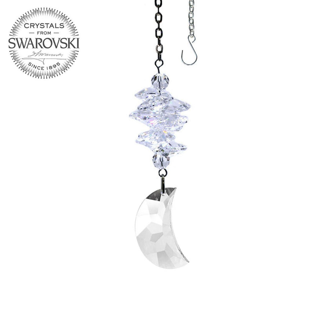 Crystal Suncatcher 3.5-inch Ornament Moon prism Clear Rainbow Maker Made with Swarovski crystals