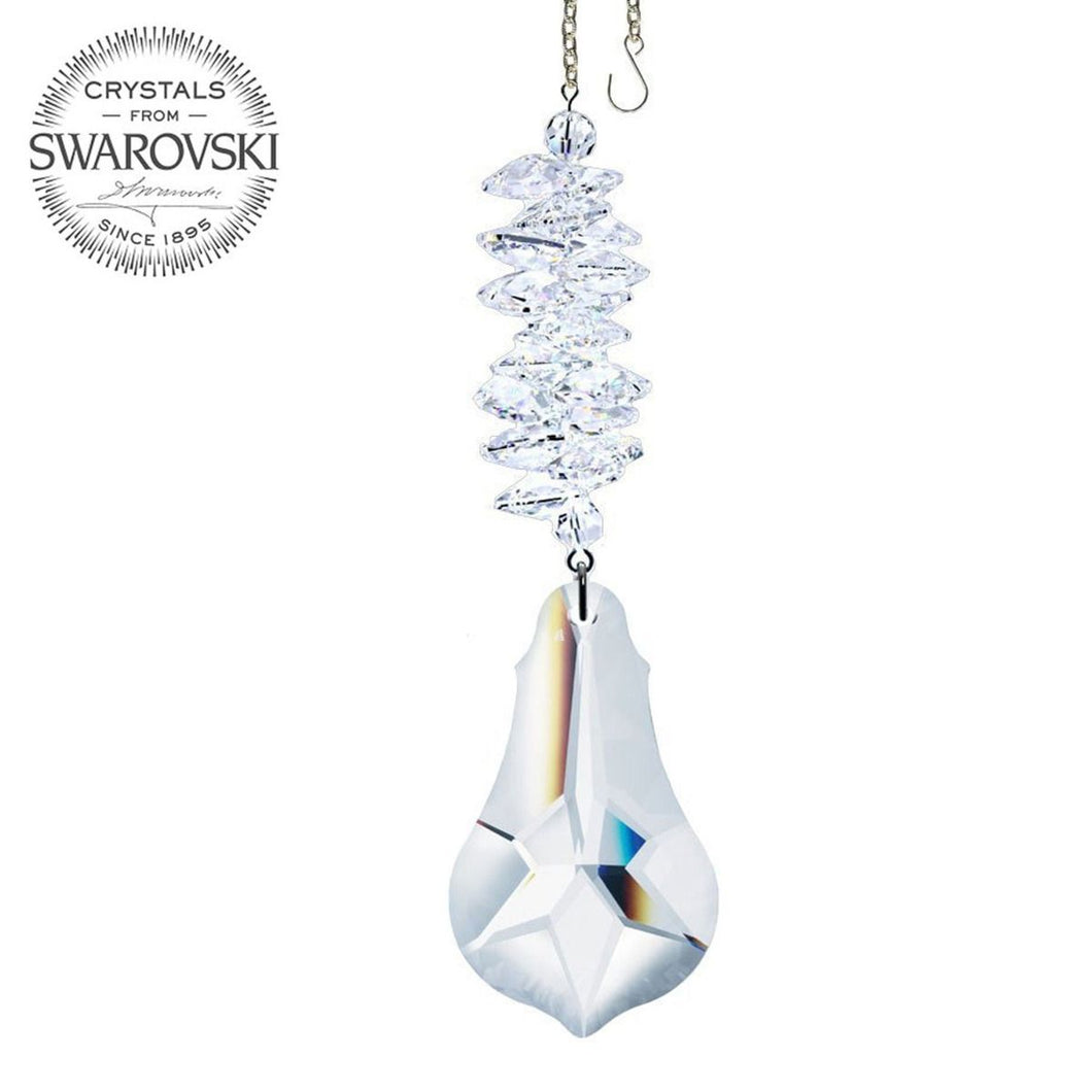 Crystal Ornament 5-inch Suncatcher Crystal Pendeloque Prism Clear Rainbow Maker Made with Swarovski crystals