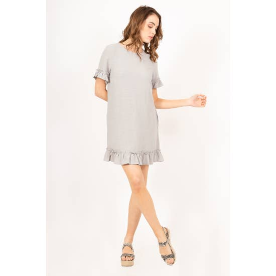 Short-Sleeve Flutter Dress