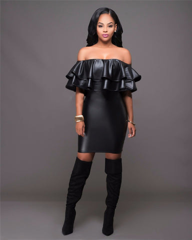 Black Off Shoulder Faux Leather Hot Club Dress