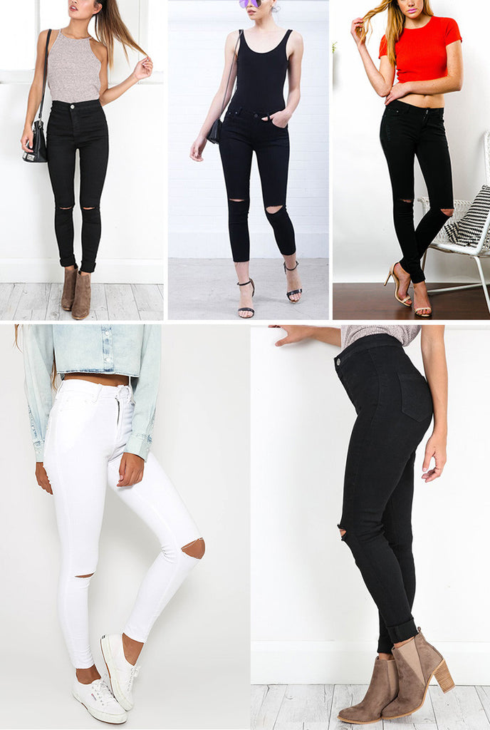 My Busted Knee Skinny Legged Jeans | Les Bijouteries - Les Bijouteries