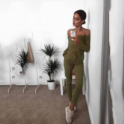 Off Shoulder Busted Knee Long sleeve Jumpsuit Romper