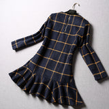 Fall Winter Fashion Plaid Woolen Long Sleeve Ruffles - Les Bijouteries - 6