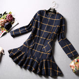 Fall Winter Fashion Plaid Woolen Long Sleeve Ruffles - Les Bijouteries