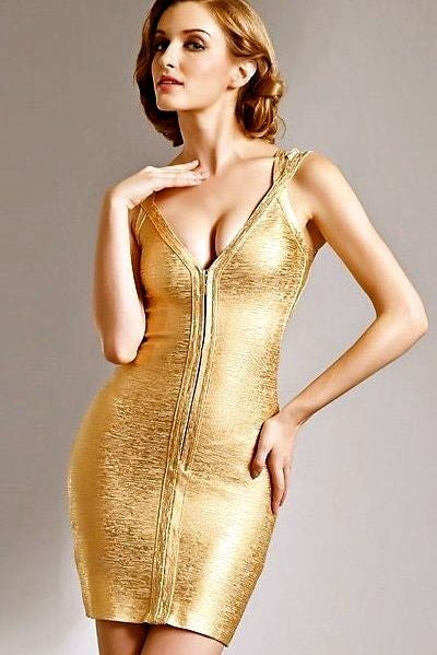 Front Zipper Gold Foil Bandage Dress - Les Bijouteries Ladies Fashion, Online Fashion, Dresses, Dresses Online, New Trends, Party Dresses, Maxi Dresses, Club Dresses, Office Dresses, Street Style, Girls Dresses, Womens Fashion, Fashion USA, Hot Fashion, Sexy Dresses - 1