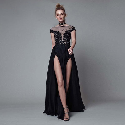 Sexy High Split Lace Appliqued Backless Party Evening Dresses