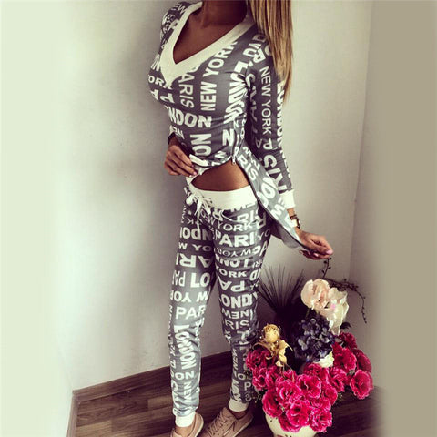2 Piece Letter Print Sport  Tracksuit Gray Or Black With V-Neck & Side Split Top