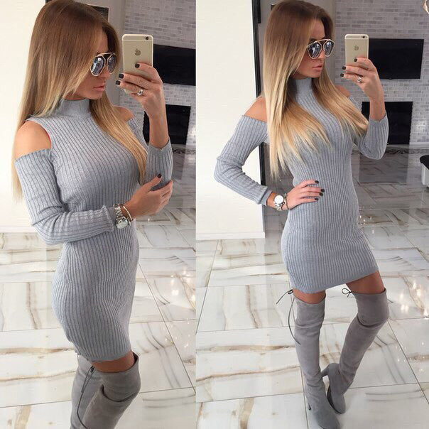 Ladies Fashion, Online Fashion, Dresses, Dresses Online, New Trends, Party Dresses, Maxi Dresses, Club Dresses, Office Dresses, Street Style, Girls Dresses, Sexy Off Shoulder Knitted Turtleneck Dress - Les Bijouteries