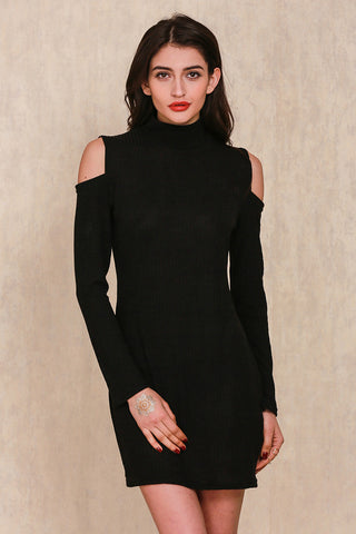 Sexy Off Shoulder Knitted Turtleneck Dress
