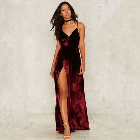 Backless Cross Strap  Red Velvet Evening Dress