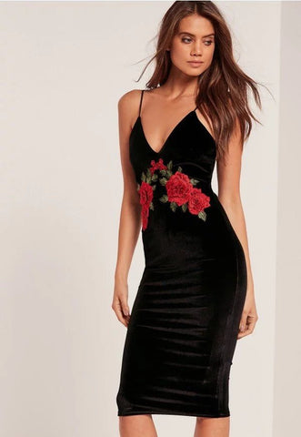 Black Velour Sheath With  Vintage Flowers Embroidery