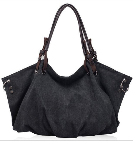 Womens Large Casual Canvas  Hobo Handbag