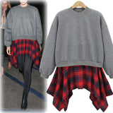 womens sweatshirts|womens casual tops|womens tops to wear with leggings|layered fashion|plaid shirt|gray womens sweatshirt|blue womens sweatshirt