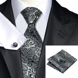 Gray Black Paisley 100% Silk Tie Set - Les Bijouteries Ladies Fashion, Online Fashion, Dresses, Dresses Online, New Trends, Party Dresses, Maxi Dresses, Club Dresses, Office Dresses, Street Style, Girls Dresses, Womens Fashion, Fashion USA, Hot Fashion, Sexy Dresses - 2