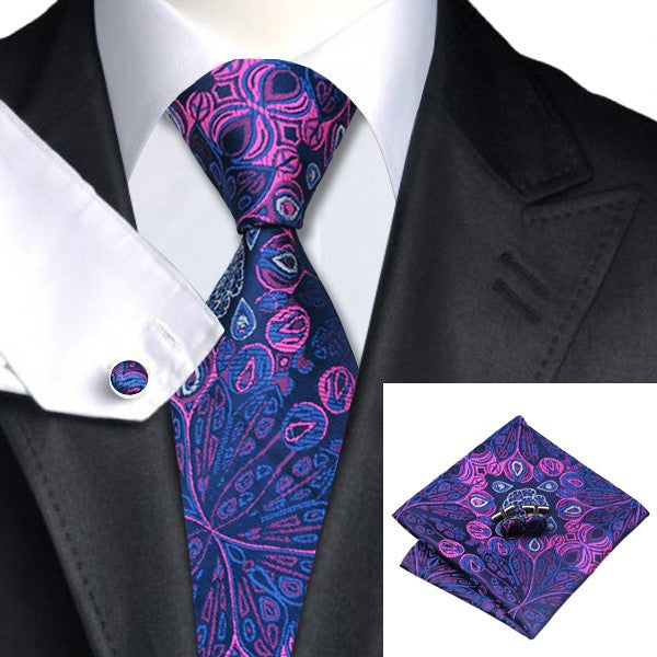 necktie set | Tie & Cufflinks & Hanky | Pocket Squares|Silk Neck Tie |Jacquard Neck Ties |Purple | Printed Ties | Tie & Cufflinks & Hanky|Blue Neck Ties