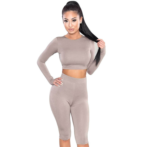 O-Neck Long Sleeve Crop & Knee Length Pants