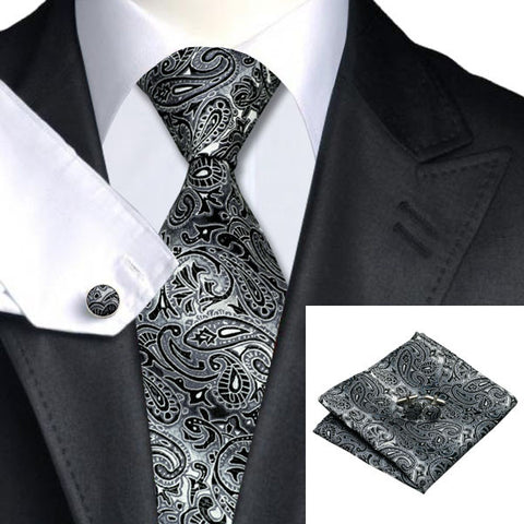Gray Black Paisley 100% Silk Tie Set