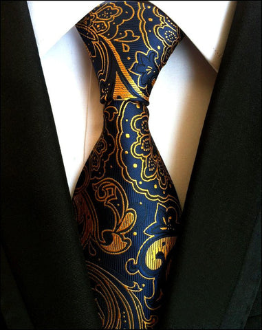 Gold & Blue Silk  Necktie