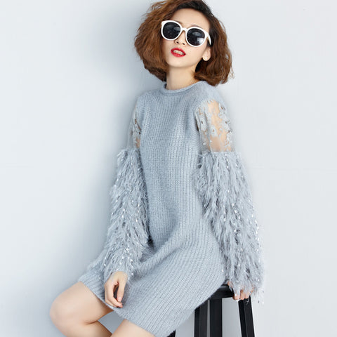 Spliced Long Sleeves Knit Sweater Dress