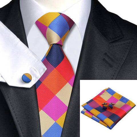 Silk Plaid Necktie Set