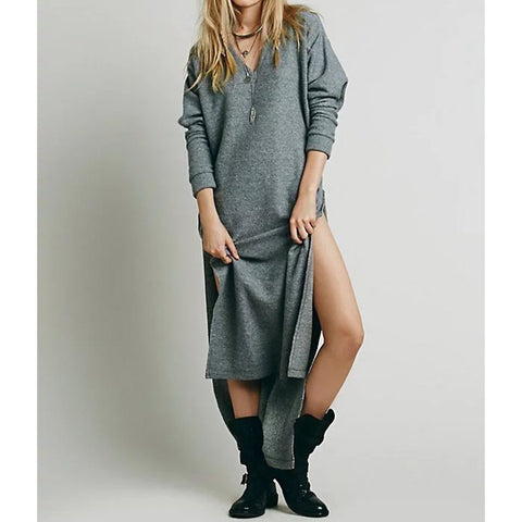 Autumn Boho Mid Calf Long Sleeve Hollow Out Cozy Shift