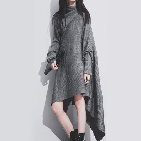Batwing Turtleneck Ankle Length Loose Form Knitted Dress