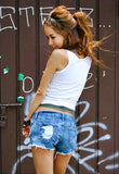 Blue Denim Rip Hole Hole Jeans Short - Les Bijouteries - 5
