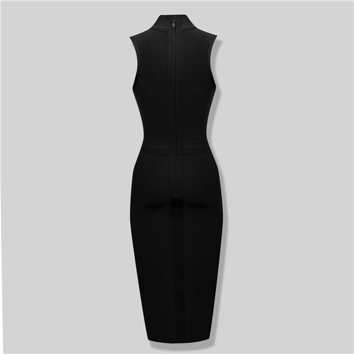 Turtleneck Seeveless Mid-Calf Bandage Dress - Les Bijouteries Ladies Fashion, Online Fashion, Dresses, Dresses Online, New Trends, Party Dresses, Maxi Dresses, Club Dresses, Office Dresses, Street Style, Girls Dresses