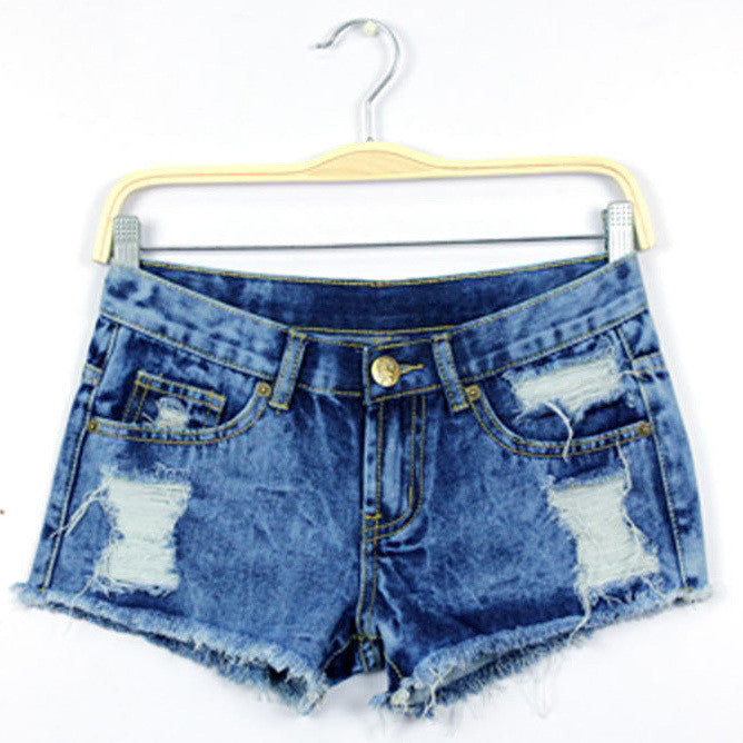 Blue Denim Rip Hole Hole Jeans Short - Les Bijouteries - 2