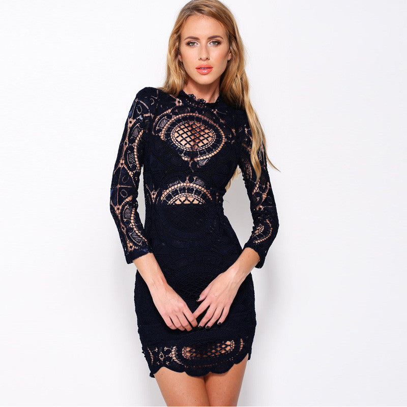Long Sleeve Hollow Out Lace  Embroidery Floral Bodycon Party Dresses - Les Bijouteries - 6